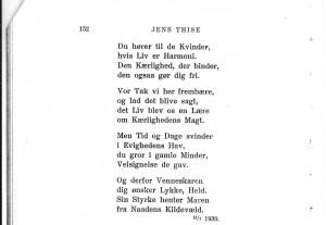 Jens Thise, digt til Maren på Bakken